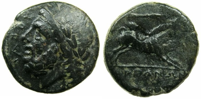 Ancient Coins - APULIA.ARPI.3rd cent BC.AE.20.8mm.Zeus.~#~ Kalydonian boar.