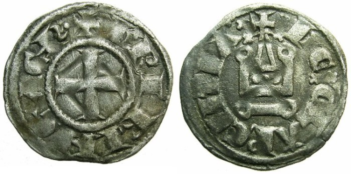 Ancient Coins - CRUSADER.Principality of ACHAIA.Charles I or II of Anjou AD 1278-1285-1289.Bi.Denier.Type KA 101.