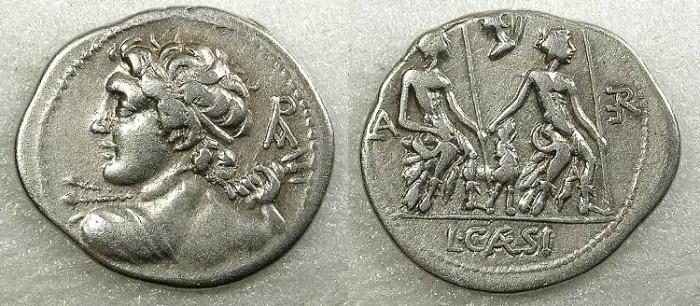 Ancient Coins - ROME Republic L.Caesius 112 or 111BC AR.Denarius Rev.Lares Praesites