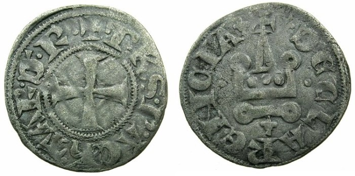 World Coins - CRUSADER.Principality of ACHAIA.Philip of Taranto AD 1307-1313.Bi.Denier.Type 1.