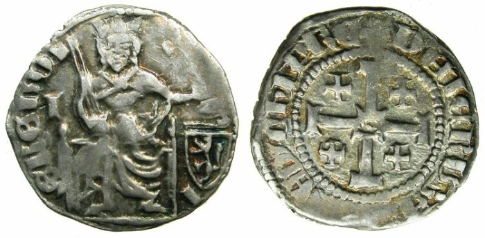 Ancient Coins - CRUSADER STATES.CYPRUS.Peter I AD 1359-1369.AR.Gros Petit.Letter I obverse field.****VERY RARE varient****