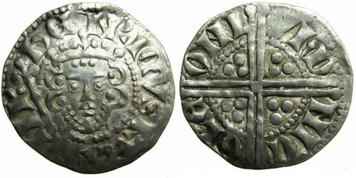 "Ancient Coins - ENGLAND.Henry III AD 1216-1272.AR.Penny.""Long cross""class 5B.Moneyer NICOLE.Mint of LONDON."