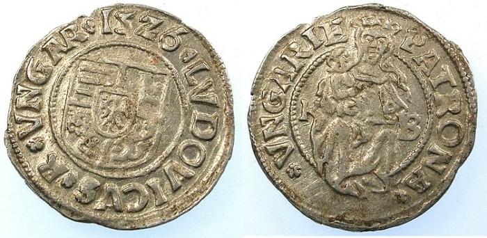 Ancient Coins - HUNGARY.Ludwig II 1516-1526.AR.Denar 1526