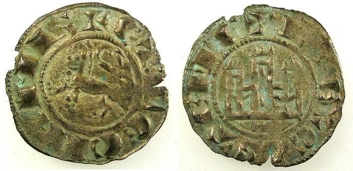 Ancient Coins - SPAIN.CASTILE AND LEON.Ferdinand IV AD 1295-1312.Bi.Denaro.Toledo mint.