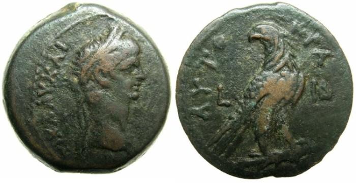 Ancient Coins - EGYPT.ALEXANDRIA.Claudius AD 41-54.AE.Diobol.AD 51/2.~#~Eagel on thunderbolt.