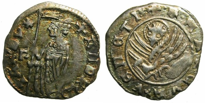 Ancient Coins - ITALY.VENICE.Andrea Contarini AD 1368-1382.AR.Soldino.2nd Type.1st.issue.~~~Sigla F.