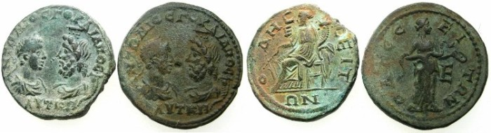Ancient Coins - THRACE.ODESUS.Gordian III and Serapis AD 238-241.AE.5 Assaria.Two coins obverse die match.~#~.Tyche seated.~#~.Hygieia.