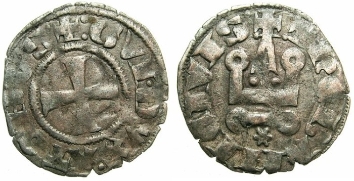 Ancient Coins - CRUSADER. ATHENS.Guy II of la Roche AD 1287-1308.Bi.Denier.Type 2.