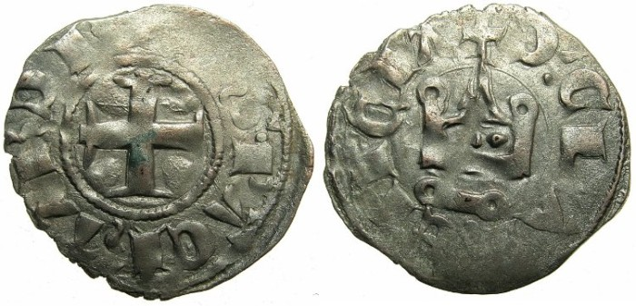 World Coins - CRUSADER STATES.GREECE.Pincipality of ACHAIA.Philip of Taranto AD 1307-1313.Bi.Denier.Type 2.~~~Retrograde letter S