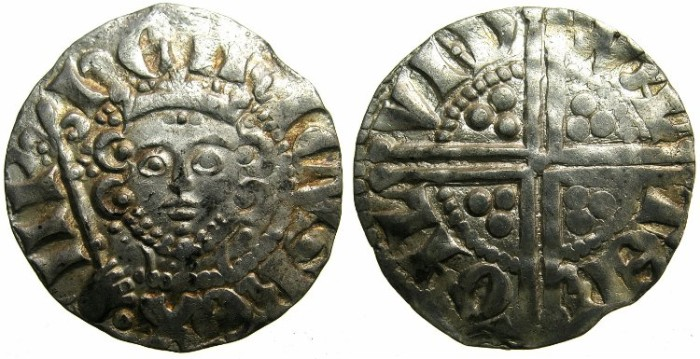 "Ancient Coins - ENGLAND.Henry III AD 1216-1272.AR.Penny.""Long cross""class 5g.Moneyer WALTER.Mint of LONDON."