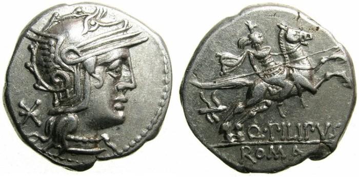 Ancient Coins - ROME.REPUBLIC.Q.Marcius Philippus 129 BC.AR.Denarius.~~~Horseman galloping right.