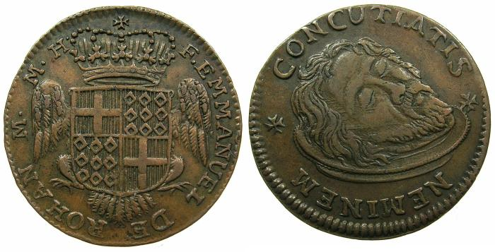 World Coins - MALTA.Emmanuel de Rohan 1775-1786.AE.1 Tari.N.D. no mark of value, Unpublished varient?Possibly a Pattern.