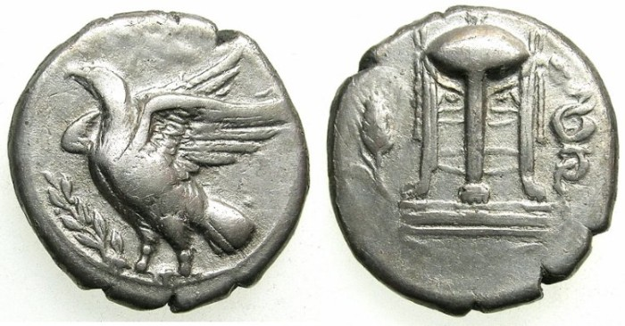 Ancient Coins - BRUTTIUM.CROTON.5th-4th cent BC.AR.Stater.Eagle on Olive branch.Tripod.