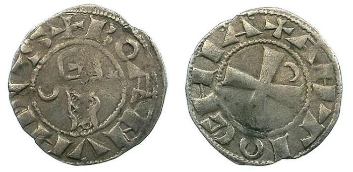 Ancient Coins - CRUSADER. Antioch.Bohemond III or IV c.1149-1233.Bi.Denier.Class A2