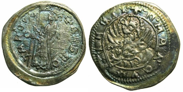 Ancient Coins - ITALY.VENICE.Andrea Contarini AD 1368-1382.AR.Soldino. 2nd Type.1st.issue.~~~Sigla D.~~~Struck on a broader flan.