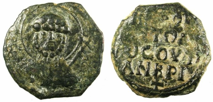 Ancient Coins - CRUSADER. Antioch.Tancred AD 1104-1112.AE.Follis.1st type.Facing bust of Saint Peter