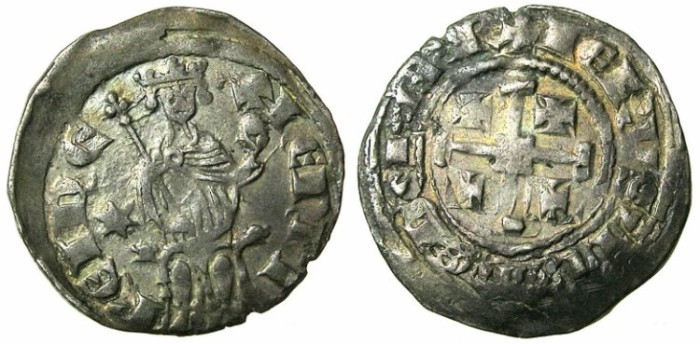 Ancient Coins - CRUSADER.CYPRUS. Henry II 1285 1310 AR Gros Petit. Six pointed star in left field.