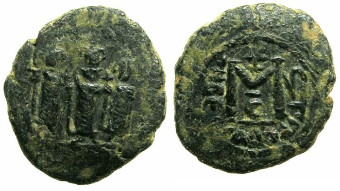 Ancient Coins - ARAB-BYZANTINE.Tabariyya ( Tiberias).Anonymous 7th cent AD.AE.Fals.~~~Three standing imperial figures.