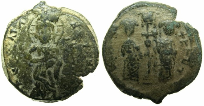 Ancient Coins - BYZANTINE EMPIRE.Constantine X Ducas AD 1059-1067.AE.Follis.Mint of Constantinople.~~~Christ standing on footstool.