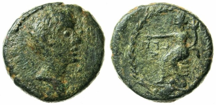 Ancient Coins - SYRIA.Damascus.Augustus 27 BC- AD 14.AE.22.Struck BC 30-29.Tyche of Damascus