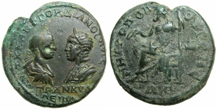 Ancient Coins - THRACE.MEOSIA INFERIOR.TOMIS.Gordian III and Tranquillina AD 241-244.AE.4 Assaria.~#~Zeus enthroned.
