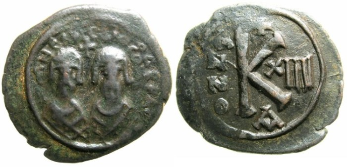 Ancient Coins - BYZANTINE EMPIRE.Revolt of The Heraclii AD 608-610.AE. Half follis.Mint of ALEXANDRETTA.Indictional year 14.~~~~ONE OF THE FINEST KNOWN EXAMPLES~~~~