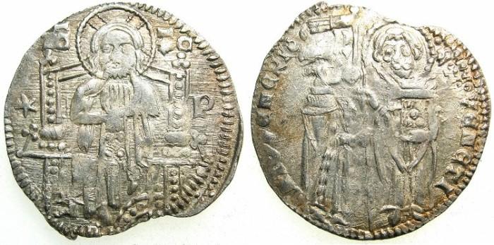 Ancient Coins - ITALY.VENICE.Antonio Venier 1382-1400.AR.Grosso.2nd type.Sigla P ( Pietro Viaro ).