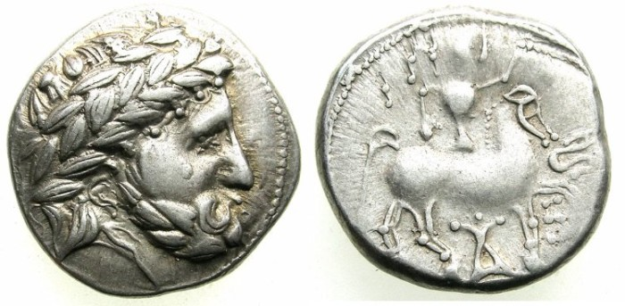 Ancient Coins - CELTIC.NORTHEN HUNGARY..Circa 2nd Cent BC.AR.Tetradrachm.Audoleon monogramm type.