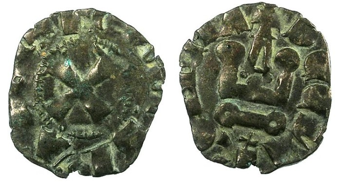 Ancient Coins - CRUSADER.Principality of ACHAIA.Jean of Anjou-Gravina 1318-1333.Bi.Denier.Type  B.