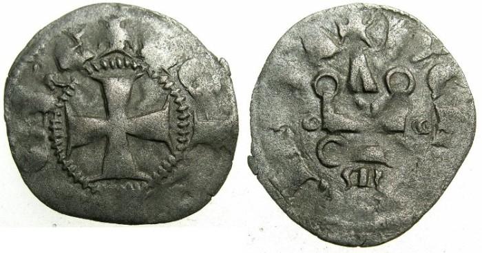 Ancient Coins - CRUSADER.GREECE. ACHAIA.John of Gravina AD 1322-1333.Billon Denier.Type A3.