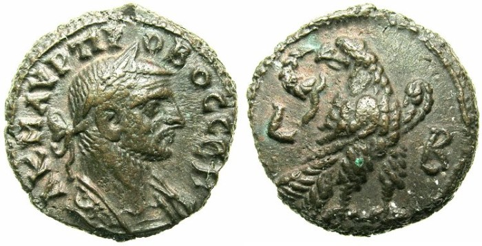 Ancient Coins - EGYPT.ALEXANDRIA.Probus AD 276-282.Billon Tetradrachm, struck AD 276/277.~#~.Eagle right on thunderbolt.