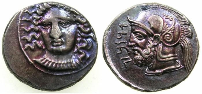 Ancient Coins - CILICIA.Dartames Satrap of Cilicia and Cappadocia circa 384-361/0 BC.AR.Stater struck circa 380-375 BC.Mint of TARSUS.~#~Superb portrait of Ares.