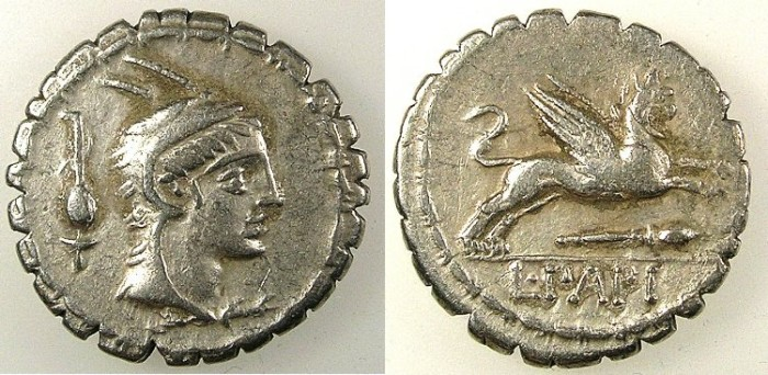 Ancient Coins - ROME.REPUBLIC.L.Papius.79BC.AR.Denarius Serratus.Juno Sospita.Rev.Gryphon