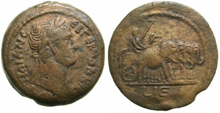 Ancient Coins - EGYPT.ALEXANDRIA.Trajan AD 98-117.AE.Drachma.Struck AD 111/12.~#~.Emperor in ELEPHANT  quadriga.