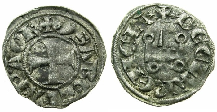 World Coins - CRUSADER STATES.GREECE.Principality of ACHAIA.Isabella of Villehardouin AD 1289-1297. Bi.Denier.Type Y2