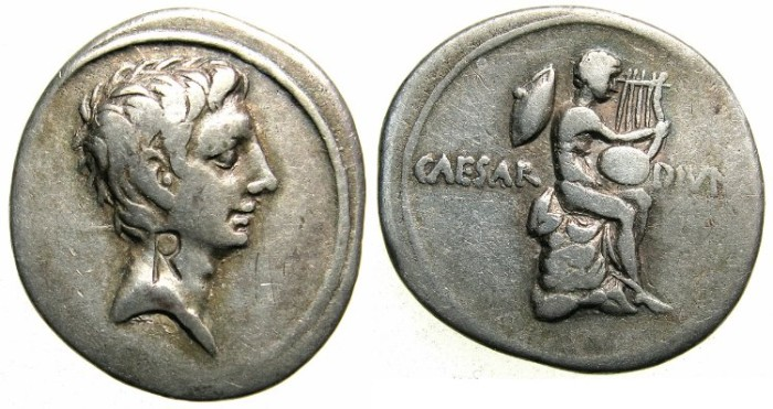 Ancient Coins - ROME.Octavian.AR.Denarius Struck 31-32 BC.Mint of ROME?~~~Mercury ( or Apollo ) with lyre.