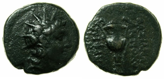 Ancient Coins - SYRIA.Antiochus VI 144-142/1 BC.AE.18mm.Mint of ANTIOCH.~#~.Kantharos