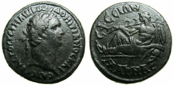 Ancient Coins - IONIA.EPHESUS AD KAYSTROS.Domitian AD 81-96.AE.24.~~~Laurate Domitian.~#~The river God MARNAS.