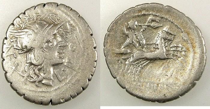 Ancient Coins - ROMAN REPUBLIC.L.Pomponius Cn.f. and Licunius Crassus.118 BC.AR.Denarius.Mint of Narbo
