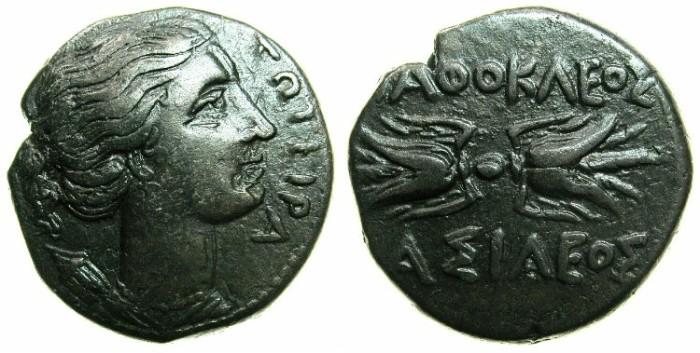 Ancient Coins - SICILY.Agathokles 317-289 BC.AE.21mm.~~~Artemis-Soteira. ~#~.Thunderbolt.