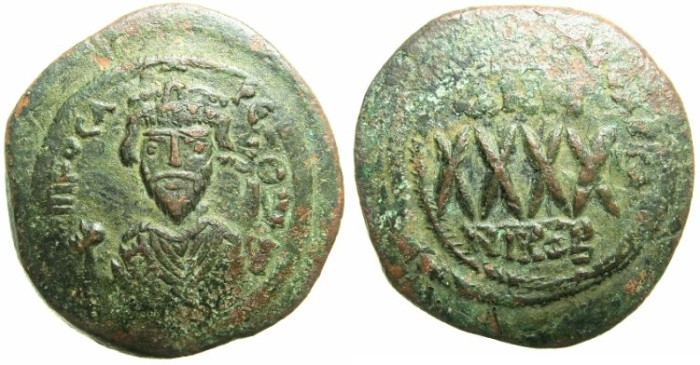 Ancient Coins - BYZANTINE EMPIRE.Phocas AD 602-610.AE.Follis Year 7? ( AD 608/9).Mint of NICOMEDIA.