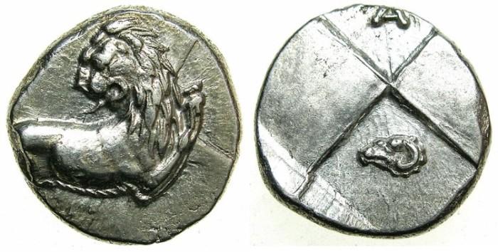 Ancient Coins - THRACE.CHERSONESUS.Circa 480-350 BC.AR.Hemidrachm.