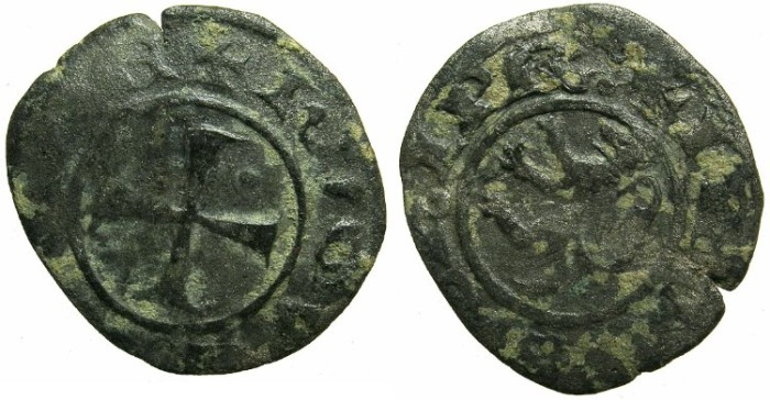 Ancient Coins - CRUSADER.CYPRUS.Hugh III AD 1267-1284.Bi.Denier.Rare varient with dot in 2nd quarter.