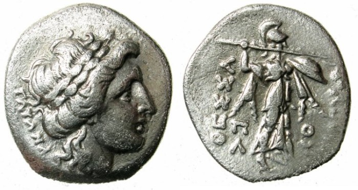 Ancient Coins - THESSALY.THESSALIAN CONFREDERCY.196 BC.AR.Drachma.Apollo / Athena Itonia