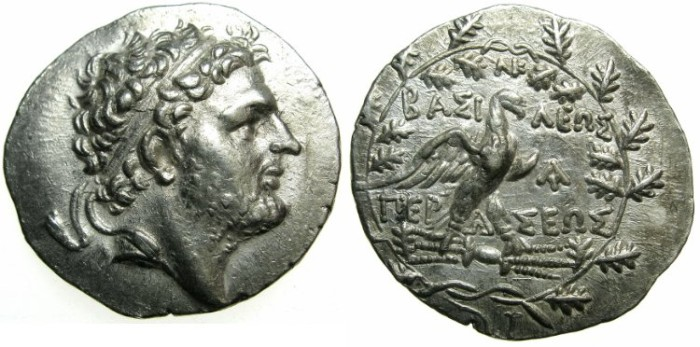 Ancient Coins - MACEDON.Perseus 179-168 BC.AR.Tetradrachm.Mint of Pella or Amphipolis.~#~.Eagle on thunderbolt.