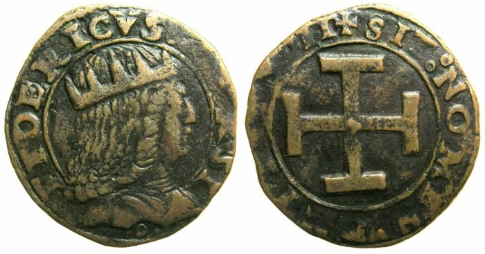 Ancient Coins - ITALY.NAPLES.Frederick III AD 1496-1501.AE.Sestino.