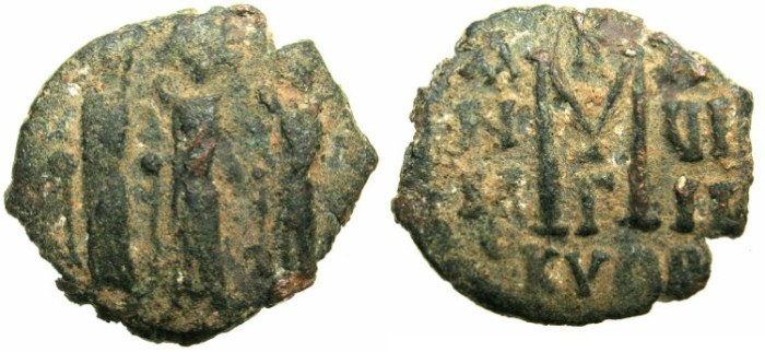 Ancient Coins - BYZANTINE EMPIRE.CYPRUS.Heraclius AD 610-641.AE.Follis AD 627-628.