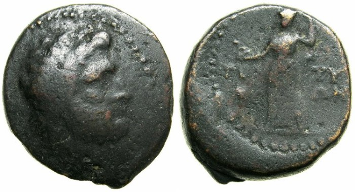 Ancient Coins - CRETE.GORTYNA.Circa 200-67 BC.AE.23.7mm.~#~Laurate Zeus.~#~.Pallas Athene.