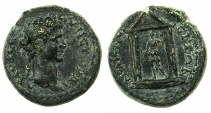 Ancient Coins - LYDIA.NACRASA.Trajan AD 98-117.AE.19mm.~#~.Artemis within tetrastyle temple.