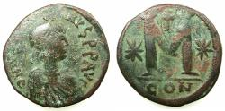 Ancient Coins - BYZANTINE EMPIRE.Justin I AD 518-527.AE.Follis. Mint of Constantinople.